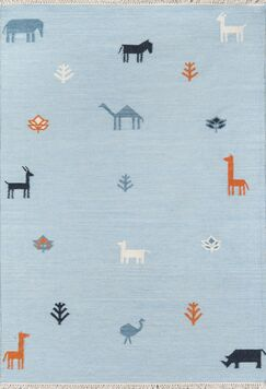 Thompson Porter Hand-Woven Wool Blue Area Rug Rug Size: Rectangle 5' X 7'6