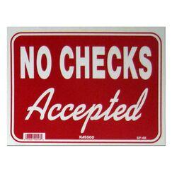 No Checks Accepted Sign