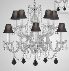 Mellott Crystal 10-Light Shaded Chandelier Crystal Color: Black, Shade Color: Black