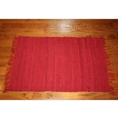 One-of-a-Kind Linmore Solid Hand-Woven Rust Area Rug Rug Size: Rectangle 4' x 6'