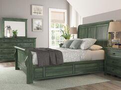 Sefton Sleigh Bed Color: Dark Sea Green, Size: King