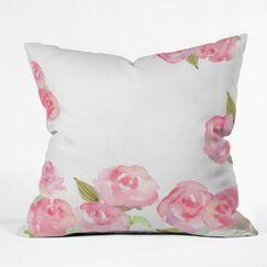 Wonder Forest Raining Roses Throw Pillow Size: 20