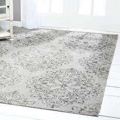 Sofia Damask Gray Indoor/Outdoor Area Rug Rug Size: Rectangle 5'3