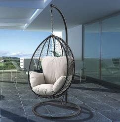 Randwick Porch Swing with Stand Finish: Beige/Black