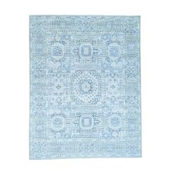One-of-a-Kind Grasser Overdyed Hamadan Worn Down Hand-Knotted Sky Blue Area Rug