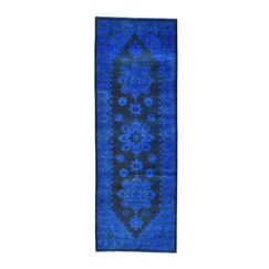 One-of-a-Kind Greenbank Overdyed Worn Hand-Knotted Denim Blue Area Rug