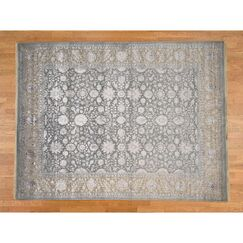 One-of-a-Kind Salzer 300 Kpsi Tone on Tone Hand-Knotted Silver Area Rug