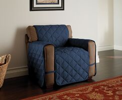 Microfiber Solid Ultimate Protector T-Cushion Armchair Slipcover Upholstery: Navy