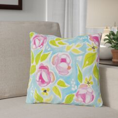 Halas Flowers Throw Pillow Size: 16