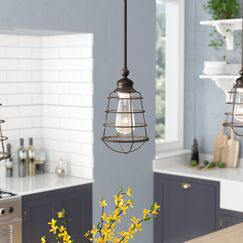 Leda 1-Light Geometric Pendant Finish: Textured Coffee Bronze