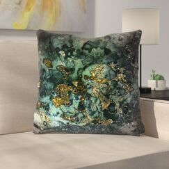 Luxury Dark Malachite Gold Gem Agate and Marble Texture Throw Pillow Size: 14