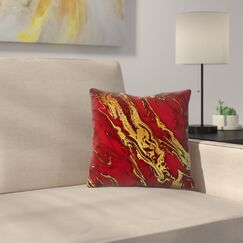 Luxury and Glitter Gem Agate and Marble Texture Throw Pillow Size: 14