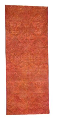 Cast Ikat Overdyed Hand-Knotted Red Area Rug