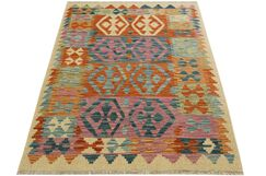 One-of-a-Kind Bakerstown Kilim Hand-Woven Ivory/Purple Area Rug