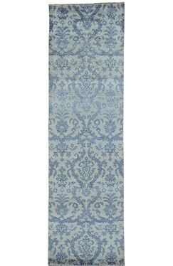 Damask Tone on Tone Oriental Hand-Knotted Silk Blue Area Rug