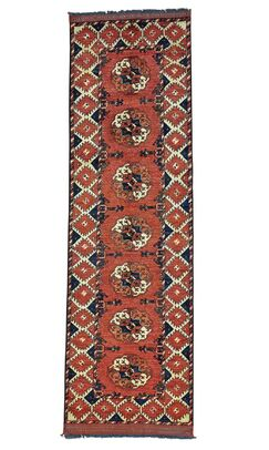 One-of-a-Kind Elephant Afghan Ersari Hand-Knotted Rust Red Area Rug