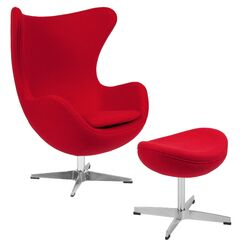 Brennen Swivel Lounge Chair and Ottoman Upholstery: Red