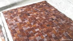 One-of-a-Kind Bellefontaine Patchwork Hand-Woven Cowhide Brown Area Rug