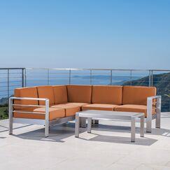 Durbin 4 Piece Sectional Set with Cushions Cushion Color: Sunbrella Rust