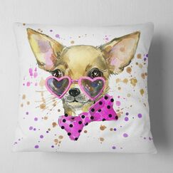 Animal Puppy Dog in Watercolor Pillow Size: 18
