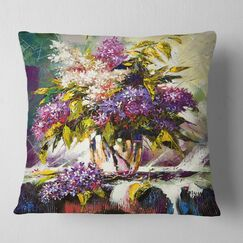Floral Lilac Bouquet Pillow Size: 18