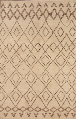 Lam Oushak Oriental Hand-Knotted Wool Beige/Ivory Area Rug
