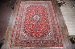 One-of-a-Kind Traditional Kashan Persian Hand-Knotted 9'7