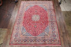 One-of-a-Kind Traditional Vintage Mashad Persian Hand-Knotted 9'8