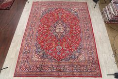 One-of-a-Kind Mashad Persian Traditional Hand-Knotted 9'9
