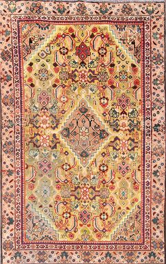 One-of-a-Kind Traditional Mahal Sarouk Persian Hand-Knotted 3'10