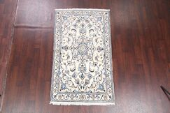 One-of-a-Kind Peng Traditional Nain Isfahan Persian Hand-Knotted 3'9
