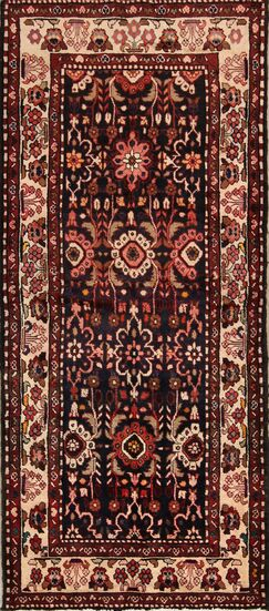 One-of-a-Kind Goldville Bakhtiari Vintage Persian Geometric Hand-Knotted 3'8