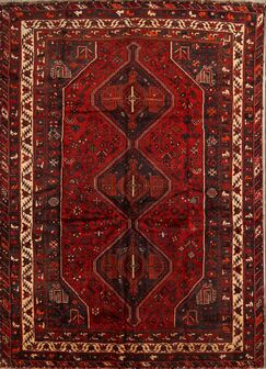One-of-a-Kind Collectible Ghashghaie Shiraz Persian Hand-Knotted 6'11