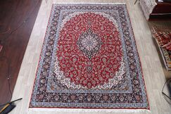Traditional Floral Soft Plush Isfahan Persian Red/Blue Area Rug