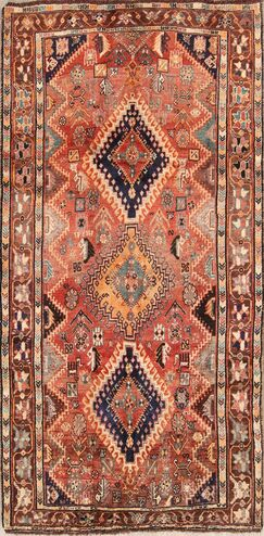 One-of-a-Kind Kashkoli Shiraz Vintage Persian Hand-Knotted 4'3
