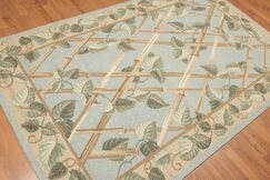 One-of-a-Kind Hor Hand-Knotted Wool Aqua Area Rug