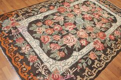 One-of-a-Kind Luciani Kilim Hand-Woven Brown Area Rug