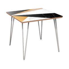 Gullo End Table Table Top Color: Walnut/Black, Table Base Color: Chrome