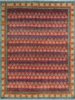 One-of-a-Kind Millender Morowa Hand-Knotted Wool Red Are Rug