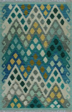 One-of-a-Kind Renita Kilim Hand-woven Wool Blue Area Rug
