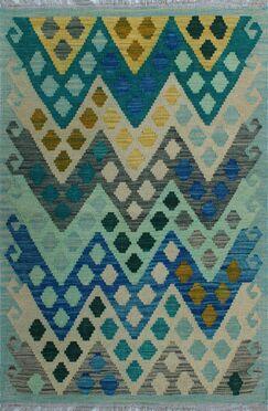 One-of-a-Kind Renita Kilim Hand-woven Wool Blue/Ivory Area Rug