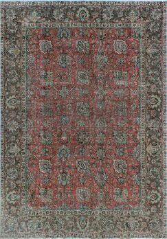 One-of-a-Kind Millikan Distressed Overdyed Carla Hand-Knotted Wool Red/Gray Are Rug