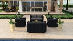 Urbana 5 Piece Double Loveseat Set with Cushions Fabric: Charcoal