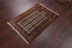 One-of-a-Kind Dull Traditional Geometric Balouch Bokara Persian Hand-Knotted 2'5