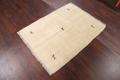 One-of-a-Kind Traditional Modern Gabbeh Zolanvari Persian Hand-Knotted 3'8
