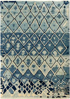 One-of-a-Kind Alastar Hand-Knotted Wool Blue/Ivory Area Rug