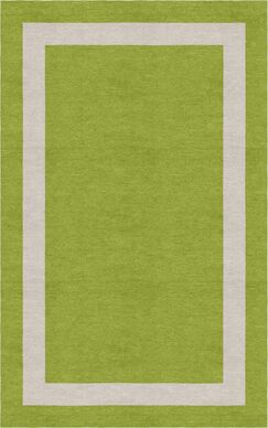 Jabber Border Hand-Tufted Wool Olive/Silver Area Rug Rug Size: Rectangle 8' x 10'