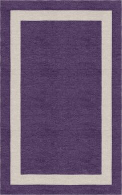 Yanagi Border Hand-Tufted Wool Dark Violet/Silver Area Rug Rug Size: Rectangle 5' x 8'