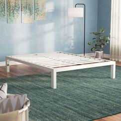 Hulme White Metal Platform Bed Frame Size: Full
