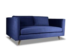 Mukatiwala Plush Deep Sofa Upholstery: Blue